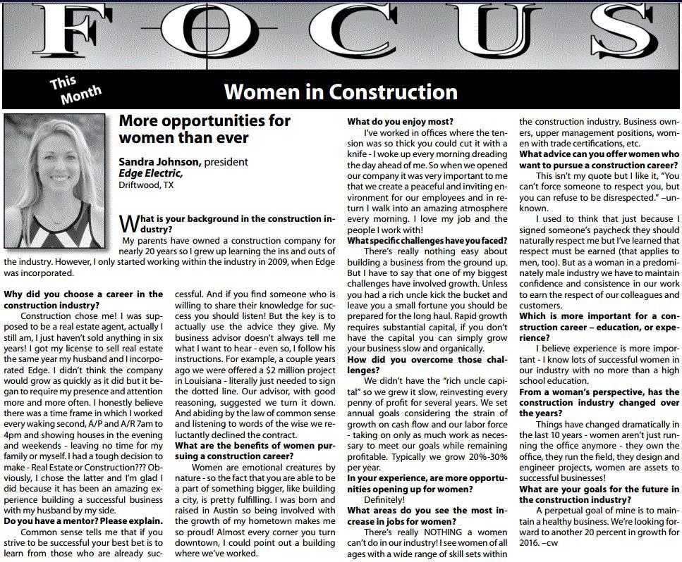 FOCUS-Women in Constructoin